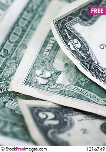 Free Two Dollar Bills - Vertical - Narrow Depth Of Field Royalty Free Stock Images - 1016749