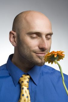 Free Businessman With Flower Royalty Free Stock Photos - 1012728