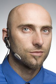 Detail Of Man With Phone Headset Royalty Free Stock Photo