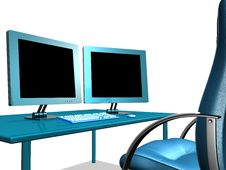 OFFICE LCD MONITOR Royalty Free Stock Photo