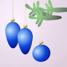 Free Three Blue Hanging Christmas Ornaments Stock Photos - 1016913