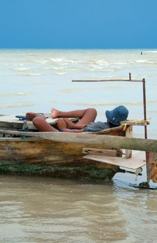 Free Sleeping In The Boat Stock Images - 1018464