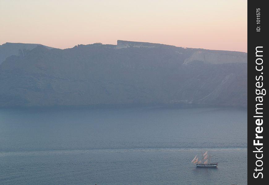 Tall Ship sailing near Santorini