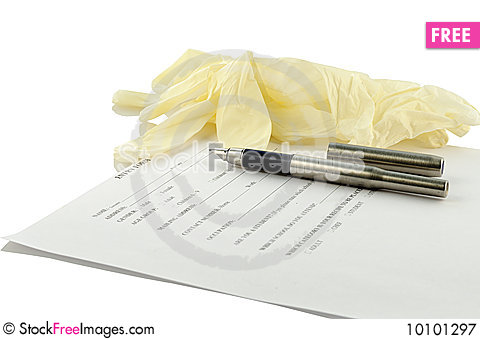 Free Glove, Ink Pen And Form Of Recipe Royalty Free Stock Photography - 10101297
