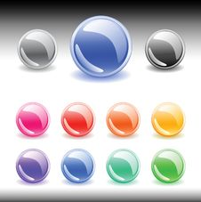 Free Colorful Web Buttons Set. Vector Royalty Free Stock Photo - 10100245