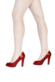 Free Woman Legs In Red Shoes Stock Photo - 10100610
