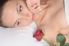 Free Woman With A Red Rose Stock Images - 10100924