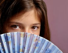 Free Girl With Fan Stock Photography - 10102412