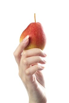 Free Red Blush Pear In Female Hand Royalty Free Stock Image - 10102796