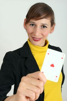 Woman With Playing Card Stock Images