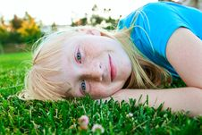 Free Girl In The Grass Royalty Free Stock Photography - 10103587