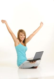 Free Beautiful Young Female With Laptop Stock Image - 10103801