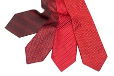 Four Male Ties, Red And Crimson Royalty Free Stock Photo