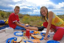 Free Siblings On Picnic Stock Photography - 10104852