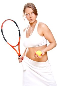 Beautiful Girl With Tennis Racket Royalty Free Stock Photos