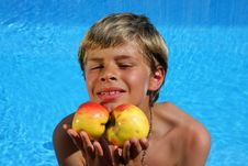 Free Boy Presenting Apples In The Summer Sun Stock Images - 10104904