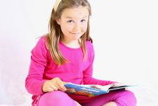 Free Young Cute Girl With Book. Stock Images - 10104934