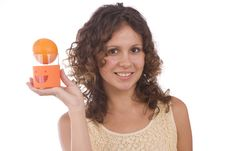 Free Woman With Orange Royalty Free Stock Photography - 10105047