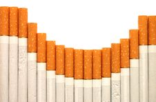 Free Row Of Cigarettes On White Background Royalty Free Stock Photography - 10105057
