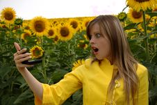 Free Wondering Woman With Mirror In Sunflowers Royalty Free Stock Image - 10106726