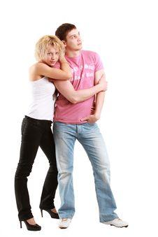 Free Couple Posing On White Royalty Free Stock Photos - 10106798