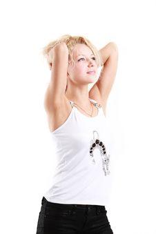 Free Pretty Girl On White Royalty Free Stock Photos - 10106888