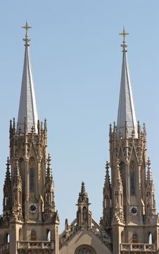 Two Towers Of Catholic Cathedral Stock Photography