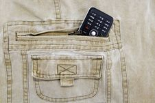 Free Cellphone Stuffed In Khaki Jeans Royalty Free Stock Photography - 10108777