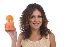 Woman With Orange Stock Photos