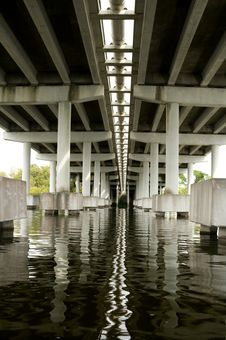 Underneath Concrete Bridge Royalty Free Stock Photo