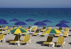 Free Beach With Beds And Umbrellas Stock Photography - 10109262