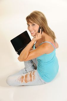Free Beautiful Young Female With Laptop Stock Photo - 10109480