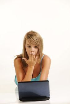 Free Beautiful Young Female With Laptop Stock Photos - 10109583