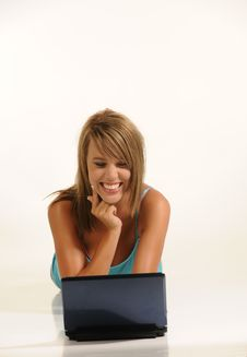 Free Beautiful Young Female With Laptop Stock Photo - 10109590