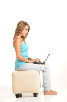 Beautiful Young Female With Laptop Royalty Free Stock Photos
