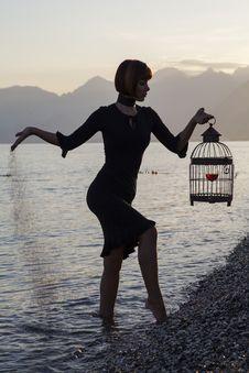 Free Water, Sea, Standing, Girl Stock Image - 101010691