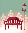 Free Wood Chair ,streetlight ,snowflake Stock Photo - 10117040