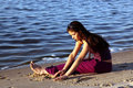 Free The Beautiful Girl On River Bank Stock Photos - 10119133