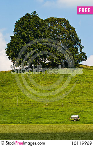 Landscape of grassland with trees and hill Stock Photo