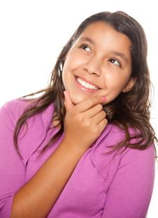 Free Pretty Hispanic Girl Thinking Royalty Free Stock Photography - 10110257
