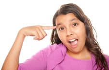 Pretty Hispanic Girl Pointing To Her Head Royalty Free Stock Photos