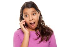 Free Shocked Pretty Hispanic Girl On Cell Phone Stock Images - 10110284