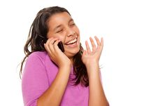 Happy Pretty Hispanic Girl On Cell Phone Stock Images