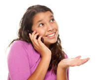 Happy Pretty Hispanic Girl On Cell Phone Royalty Free Stock Photos