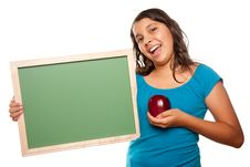 Free Pretty Hispanic Girl Holding Blank Chalkboard And Royalty Free Stock Images - 10110399