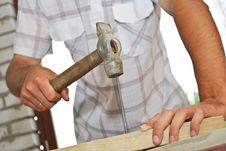 Free Hammer Pounding Nail Stock Photography - 10110402