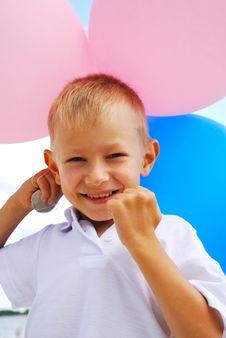 Boy  With  Balloons Stock Photos