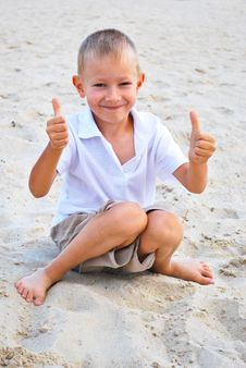 Little Boy Showing Thumbs Up Sign Stock Photos