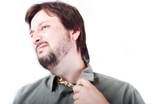 Free Man Wearing Shirt And Tie With Boring Expression O Stock Image - 10114131