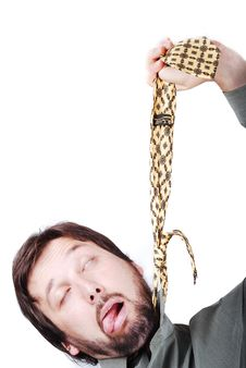 Free Man Is Trying To Hang Up Himself Stock Photos - 10114343